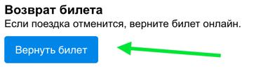 Кнопка «Вернуть билет»